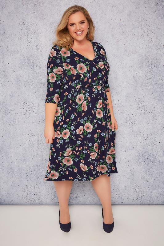 SCARLETT & JO Navy Floral Print Wrap Dress