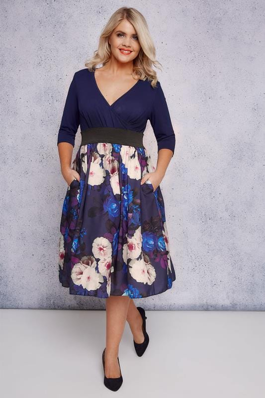 SCARLETT & JO Navy & Multi Floral Wrap Over 2 In 1 Dress