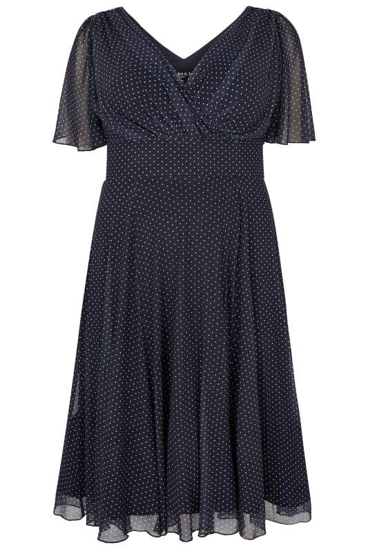 Grote maten midi jurken SCARLETT & JO Navy & White Polka Dot Midi Dress With Angel Sleeves 138918