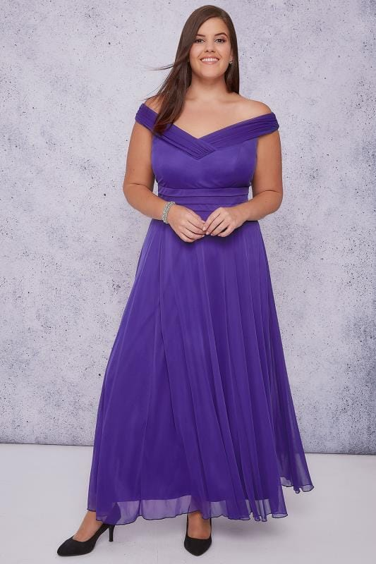 Sukienki maxi SCARLETT & JO Purple Bardot Sweetheart Layered Maxi Dress 138534