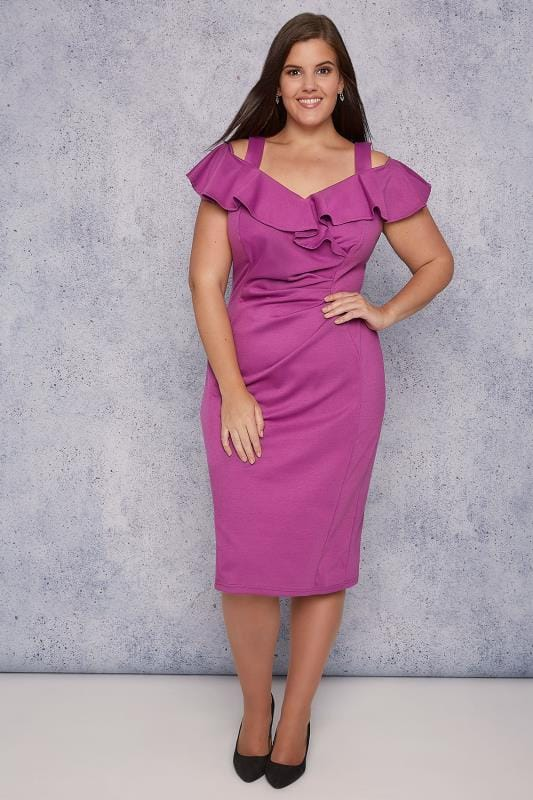 SCARLETT & JO Purple Cold Shoulder Frill Bodycon Midi Dress