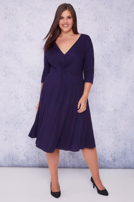 SCARLETT & JO Purple Jersey Midi Dress With Knot Front Detail