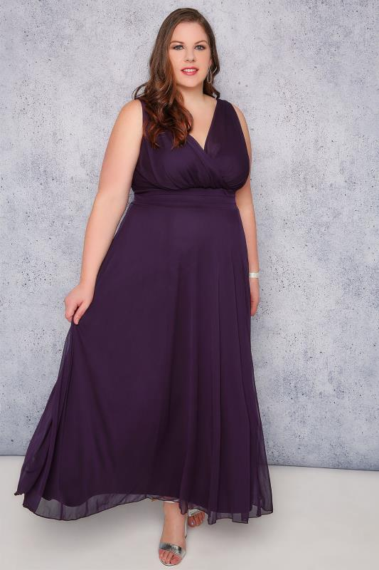 SCARLETT & JO Purple Marilyn Wrap Front Maxi Dress