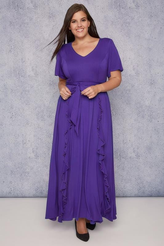 SCARLETT & JO Purple Maxi Dress With Frill Detail
