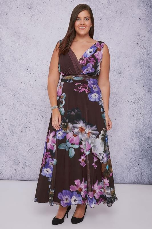 SCARLETT & JO Purple & Multi Floral Print Marilyn Wrap Front Maxi Dress