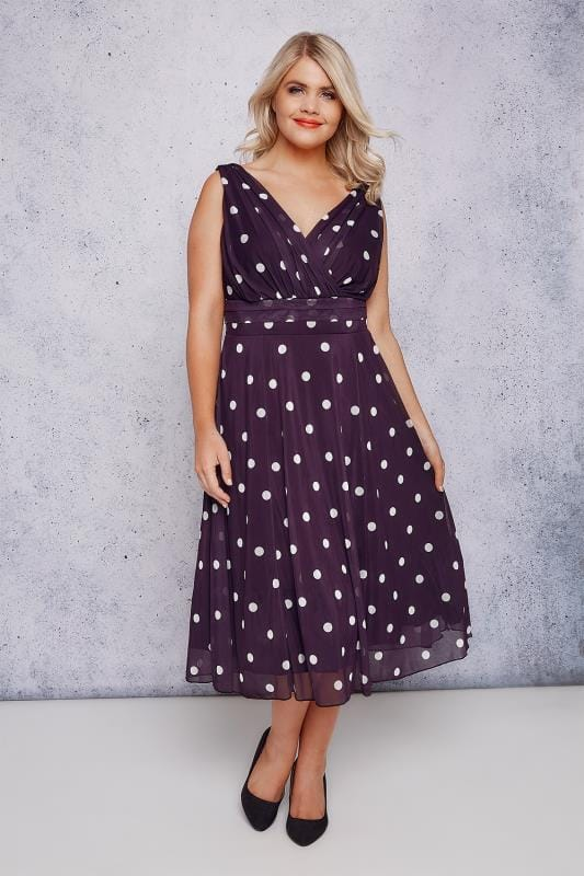 SCARLETT & JO Purple & White Polka Dot Wrap Over Midi Dress