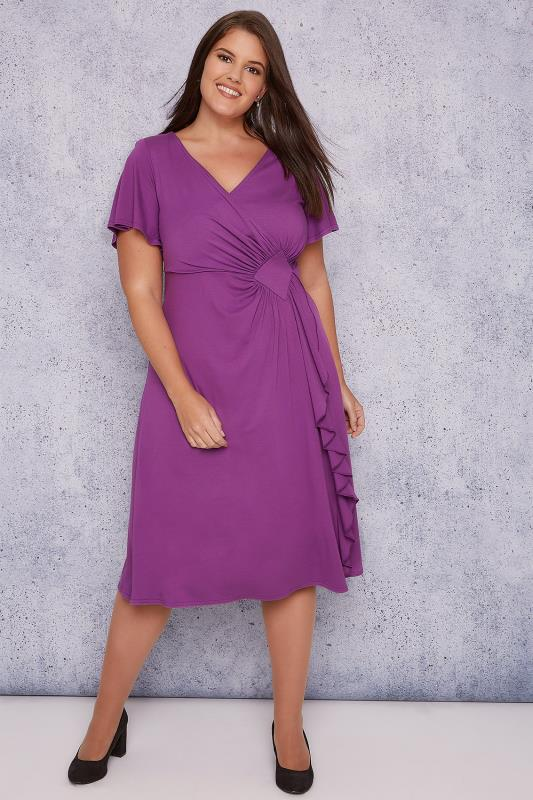 SCARLETT & JO Purple Wrap Dress With Angel Sleeves