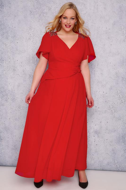 SCARLETT & JO Red Chiffon Maxi Dress With Embellished Shoulders