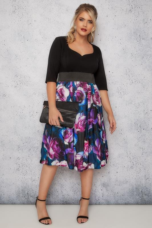 SCARLET & JO Black & Purple Floral Print 2-In-1 Dress With Elasticated Waist