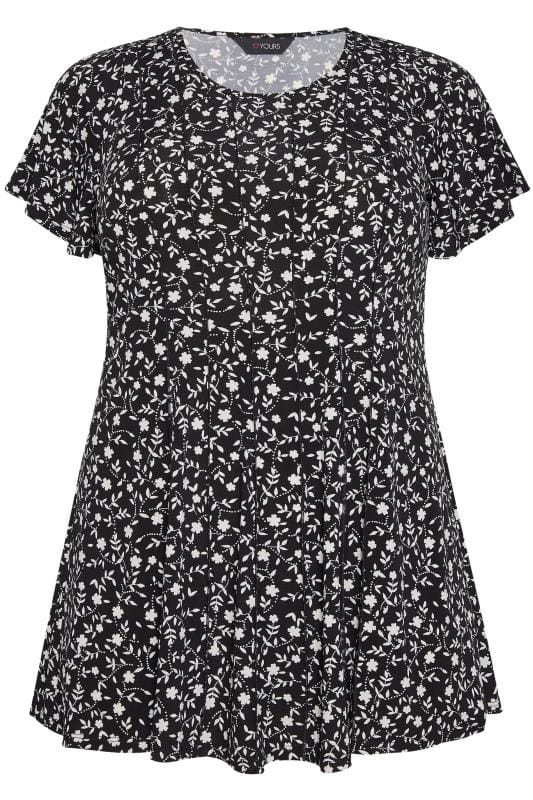 b5d1293153 Black Ditsy Floral Print Peplum Top | Sizes 16-36 | Yours Clothing