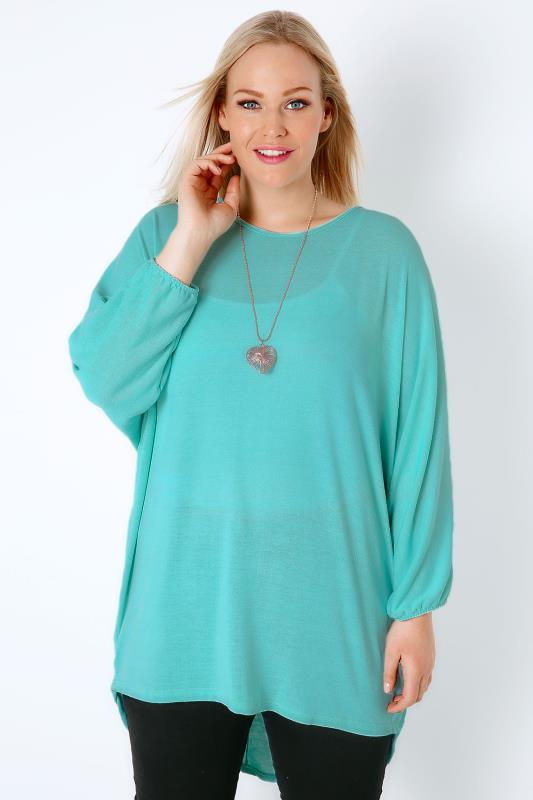 SIENNA COUTURE Aqua Blue Fine Knitted Top With Free Necklace