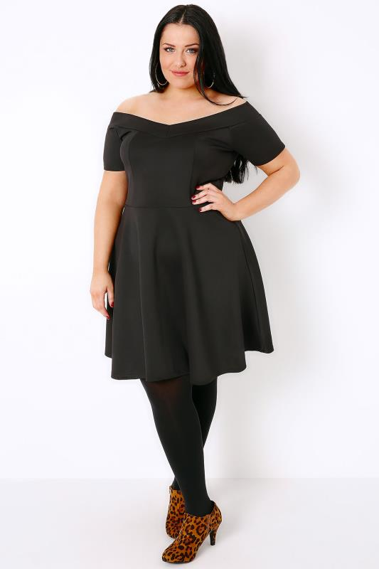 SIENNA COUTURE Black Bardot Skater Dress