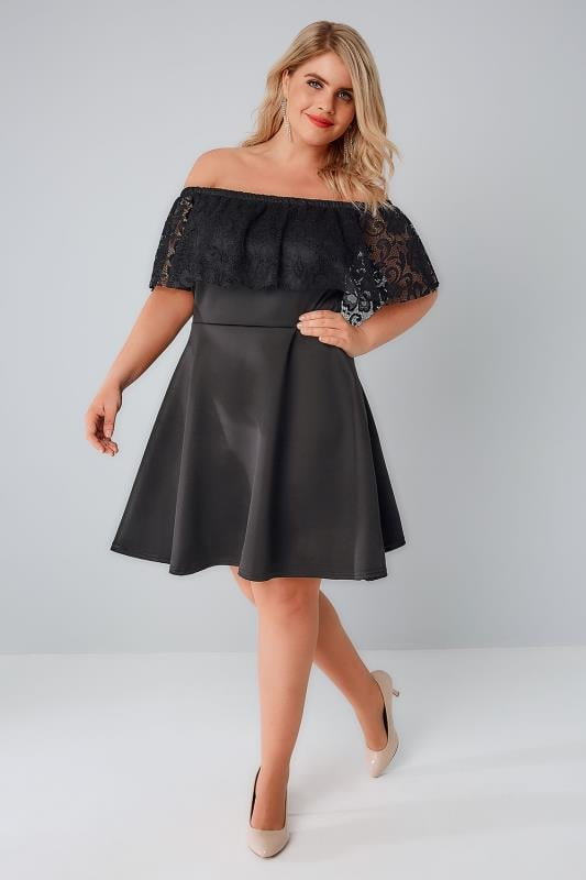 SIENNA COUTURE Black Bardot Skater Dress With Lace Frill