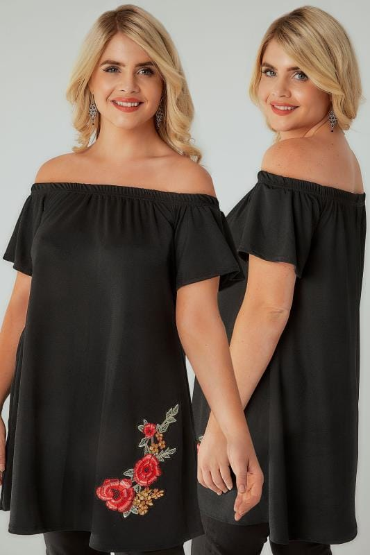 SIENNA COUTURE Black Bardot Top With Embroidered Rose