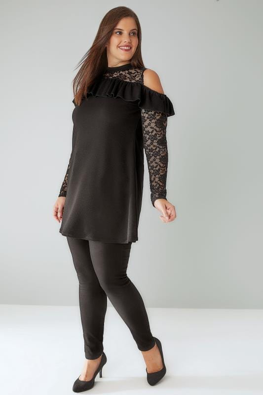 SIENNA COUTURE Black Cold Shoulder Frill Swing Top With Lace Sleeves