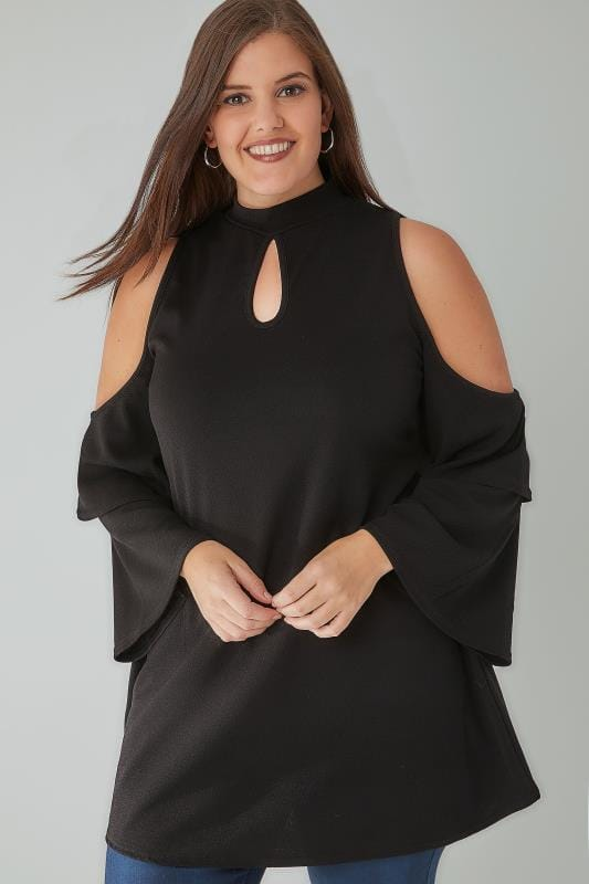 SIENNA COUTURE Black Cold Shoulder Swing Top With Frill Sleeves