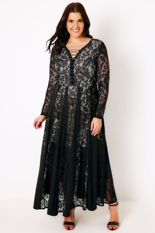 SIENNA COUTURE Black Lace Midi Dress With Panel and Lace-Up Detail