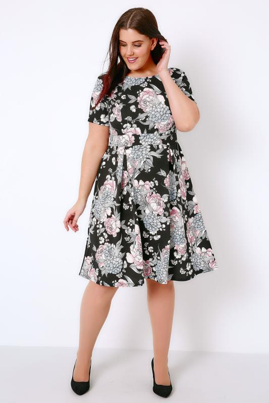 SIENNA COUTURE Black & Multi Floral Print Sleeved Skater Dress