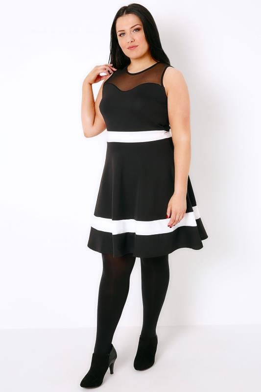 SIENNA COUTURE Black & White Sleeveless Skater Dress With Mesh Sweetheart Neckline