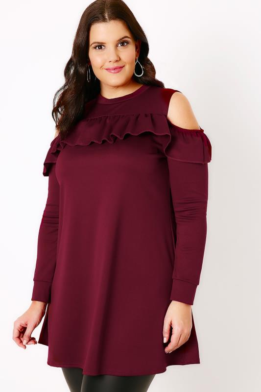 SIENNA COUTURE Burgundy Ruffle Cold Shoulder Jersey Top