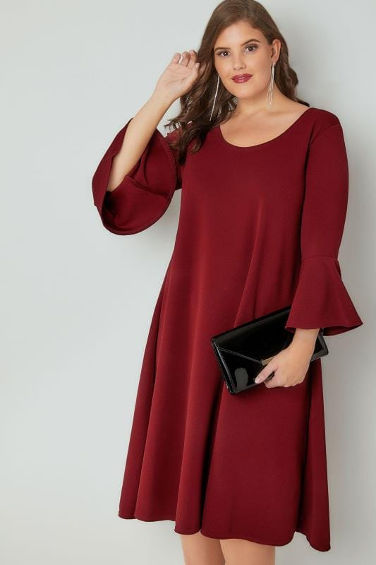 SIENNA COUTURE Burgundy Swing Dress With Flute Sleeves