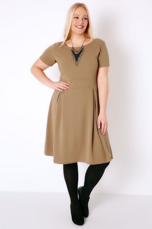 SIENNA COUTURE Caramel Brown Sleeved Skater Dress