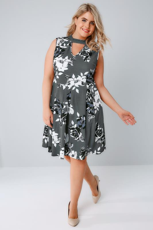 SIENNA COUTURE Dark Green Floral Print Sleeveless Choker Dress