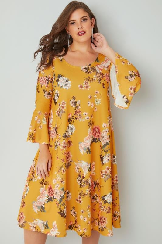 SIENNA COUTURE Dark Yellow Floral Swing Print Dress With Flute Sleeves