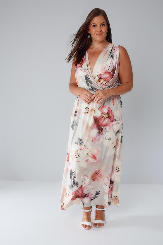 SIENNA COUTURE Lilac Floral Slinky Stretch Wrap Front Maxi Dress