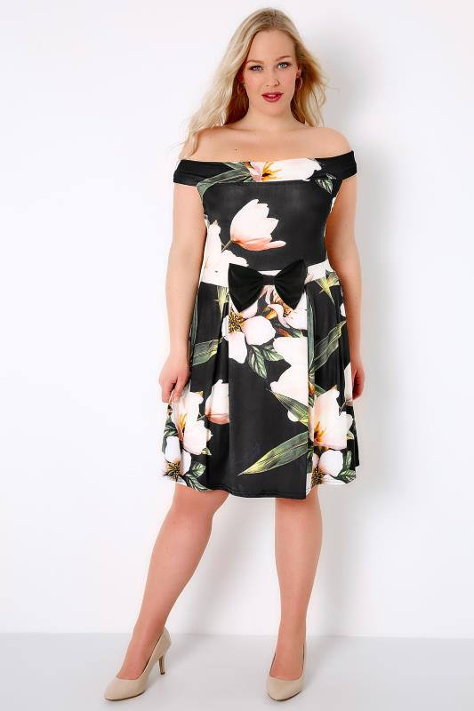 SIENNA COUTURE Multi Floral Print Slinky Bardot Dress With Bow