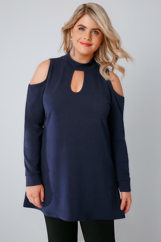 SIENNA COUTURE Navy Longline Cold Shoulder Choker Top