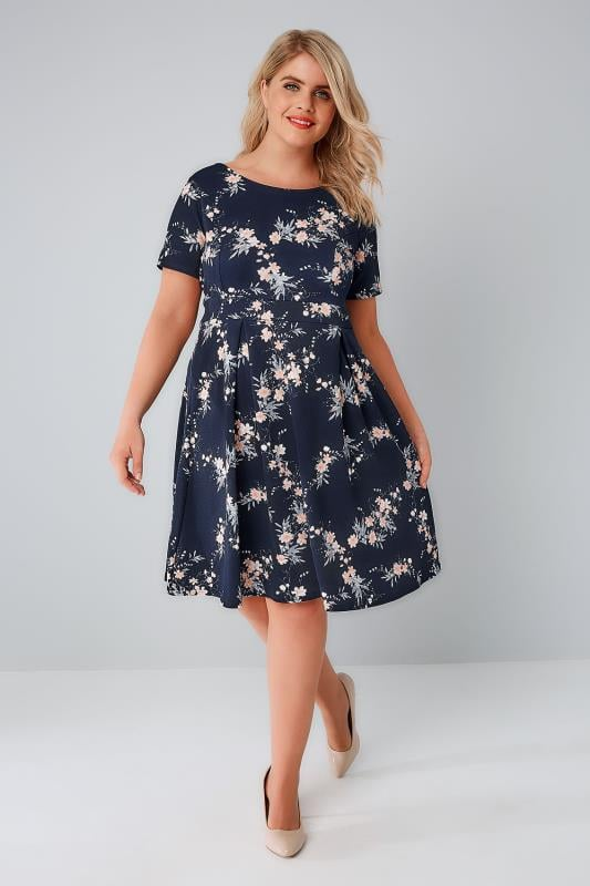 SIENNA COUTURE Navy & Multi Floral Sleeved Skater Dress
