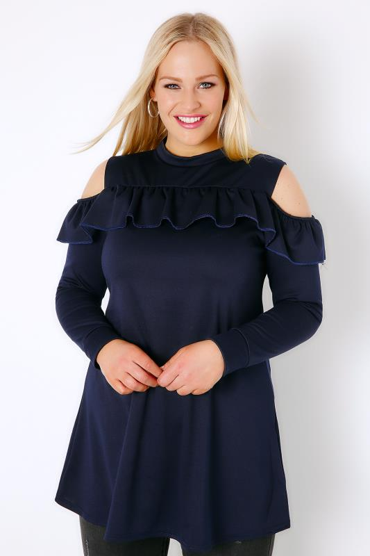 SIENNA COUTURE Navy Ruffle Cold Shoulder Jersey Top