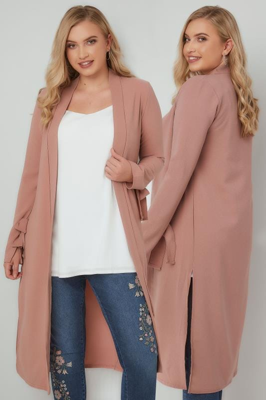 SIENNA COUTURE Rose Pink Lightweight Duster Jacket With Tie Sleeves