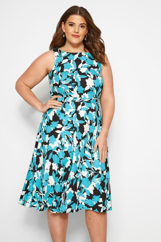 Plus Size Floral Dresses SIZE UP Black & Blue Floral Woven Dress