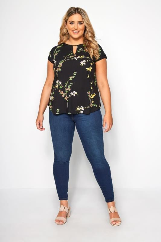 SIZE UP Black Leaf Print Cut Out Blouse