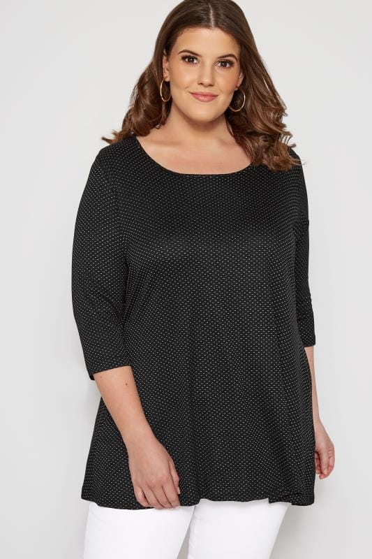 Plus Size Jersey Tops SIZE UP Black Patterned Fine Knit Top