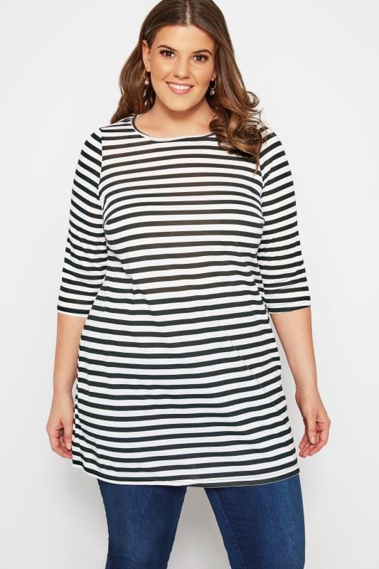 Plus Size Jersey Tops SIZE UP Black & White Striped Longline Top