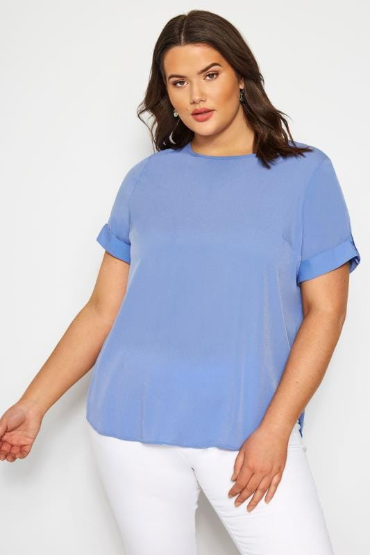 Plus Size Chiffon Blouses SIZE UP Blue Chiffon Top