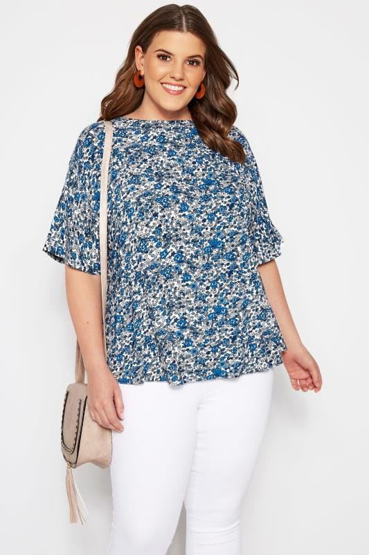 Plus Size Floral Tops SIZE UP Blue Floral Woven Top