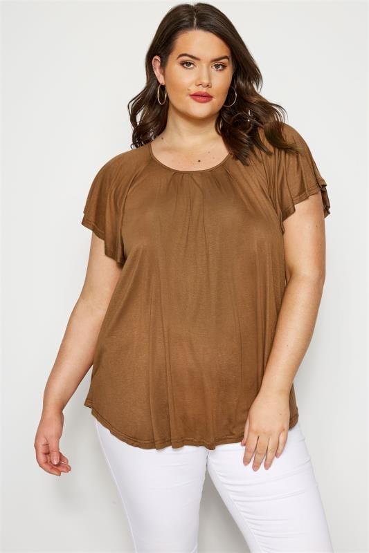 Plus Size Jersey Tops SIZE UP Brown Angel Sleeve Jersey Top