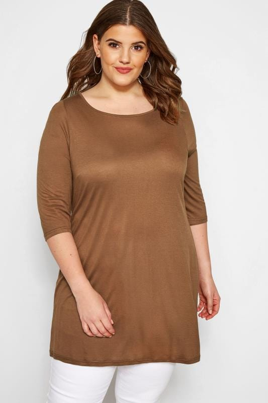 Plus Size Jersey Tops SIZE UP Brown Jersey Top
