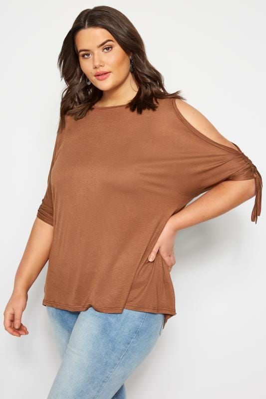 Plus Size Jersey Tops SIZE UP Brown Keyhole Ruched Sleeve Top