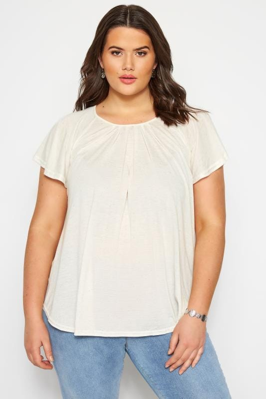 Plus Size Day Tops SIZE UP Cream Angel Sleeve Jersey Top