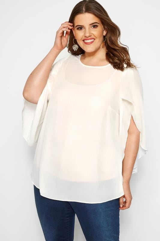 Plus Size Chiffon Blouses SIZE UP Cream Angel Sleeves Chiffon Top