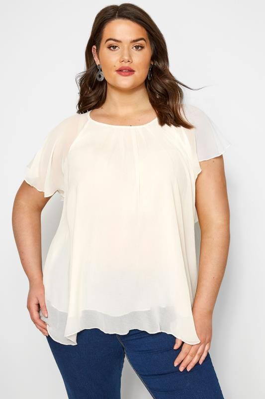 Plus Size Day Tops SIZE UP Cream Chiffon Angel Sleeve Top