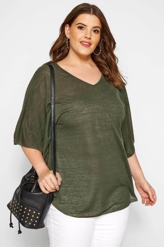 Plus Size Day Tops SIZE UP Dark Green Fine Knit Cape Top