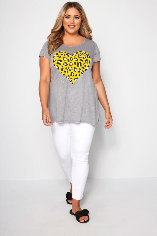 SIZE UP Grey Leopard Print T-Shirt