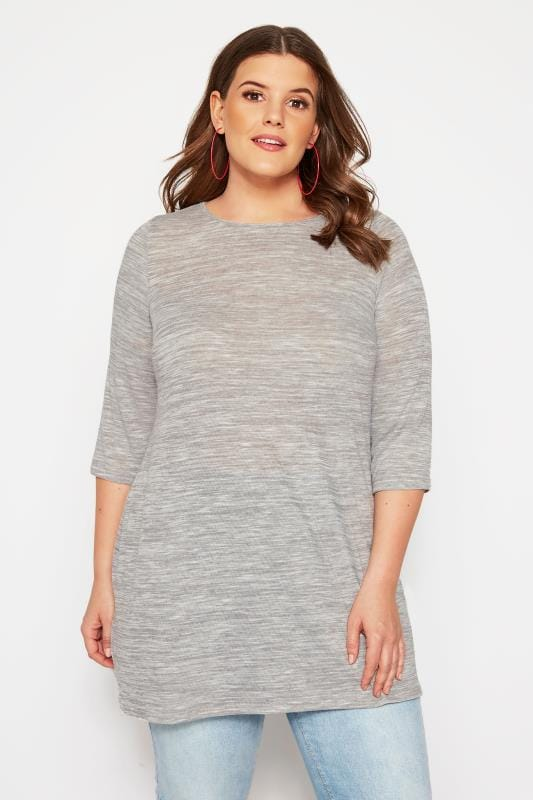 Plus Size Knitted Tops & Jumpers SIZE UP Grey Longline Fine Knit Top