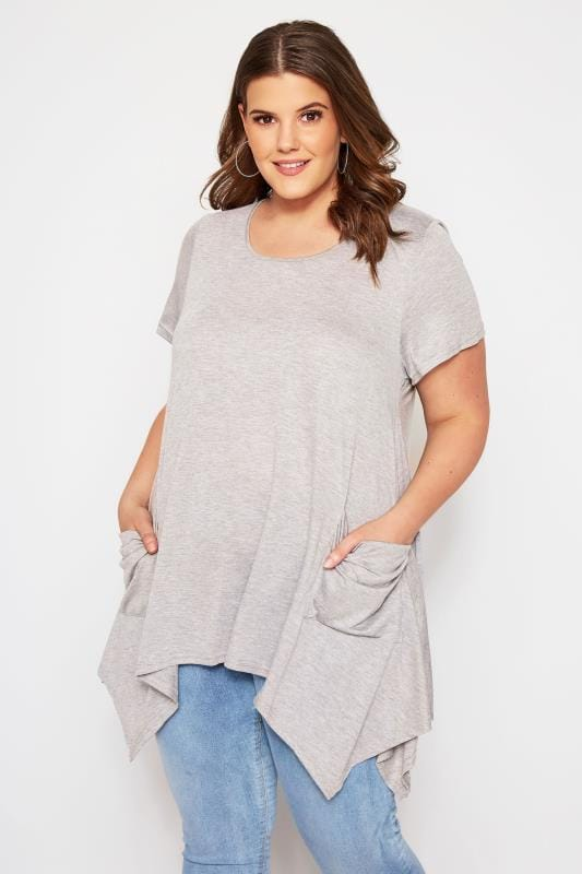 Plus Size Jersey Tops SIZE UP Grey Longline Top With Hanky Hem